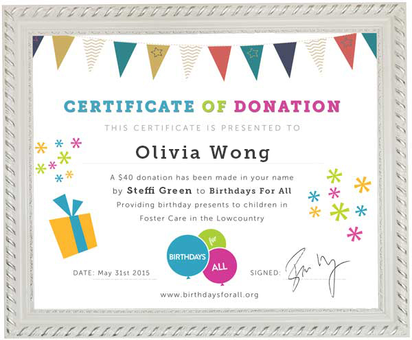 Donate in honor of someone birthdays for all certificate of donation yadclub Gallery
